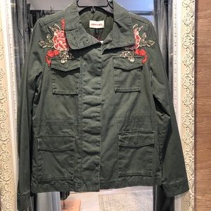 Driftwood Utility Jacket with floral accents